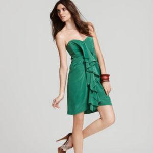 BCBG MAXAZRIA Gina Green Silk Dress